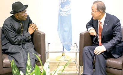 President of Nigeria, Dr. Goodluck Jonathan,(L) meets with Secretary-General Ban Ki-moon during the 69th United Nations General Assembly at UN headquarters
