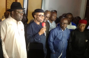 From Right > Governor Theodore Orji (Abia); Emmanuel Uduaghan (Delta); Liyel Imoke (Cross Rivers); Olusegun Mimiko (Ondo) and Henry Seriake Dickson (Bayelsa) at the briefing in New Government House, Asaba.