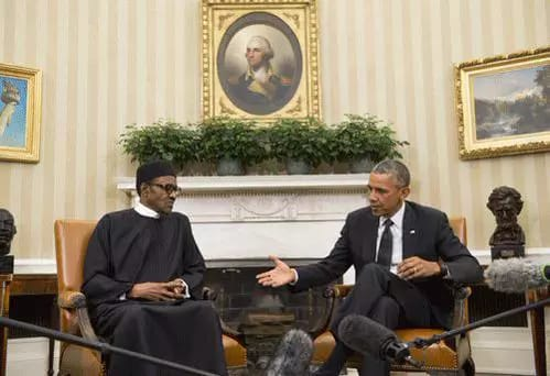 President Muhammadu Buhari meets with his American counterpart Barack Obama at Oval office of the White House.
