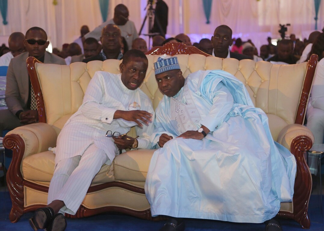 Delta State Governor, Senator Ifeanyi Okowa (left) and the Governor of Sokoto State, Aminu Tambuwal, during a Day2 Economic Summit to mark its 25th Anniversary in Asaba.