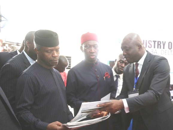From left: Vice President, Prof Yemi Osinbajor; Delta State Governor, Senator Ifeanyi Okowa and the State Commissioner for Information, Mr Patrick Ukah, during the Economic Summit to mark the 25th Anniversary in Asaba.
