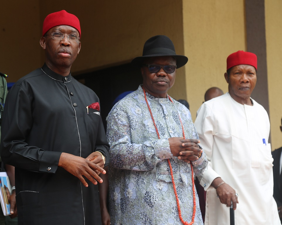 from left; Delta State Governor, Senator Ifeanyi Okowa; Immediate Past Governor, Dr. Emmanuel Uduaghan and Past Governor of Delta State; Capt. Luke Ocholor, during a Valedictory/Tribute Session in Honour of Late Senator Felix Ibru, former Governor of Delta State in Asaba.