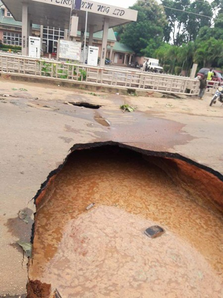 A road affected b the quake