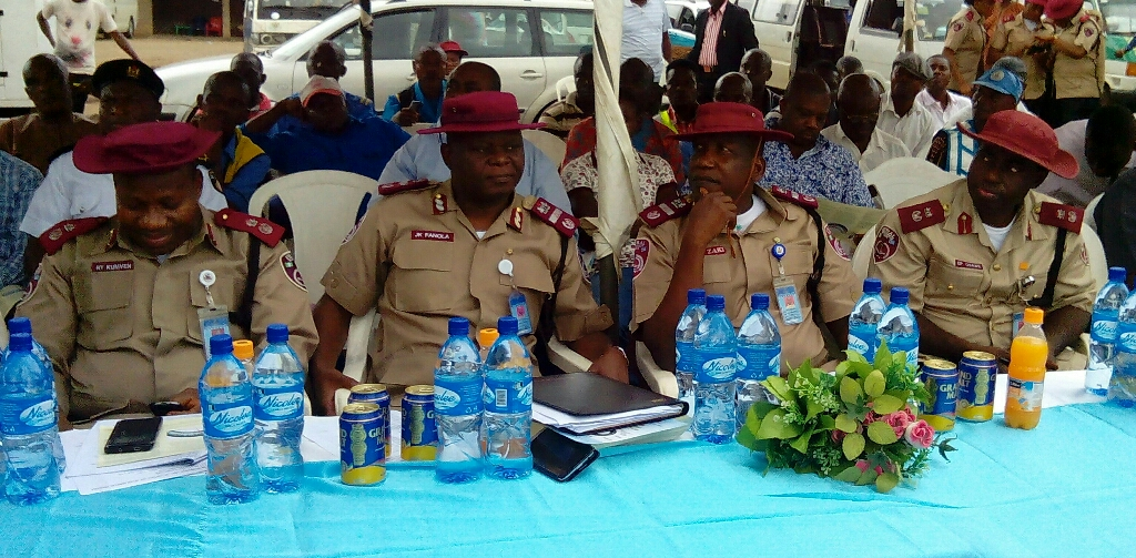 From left>>Delta Sector Commander, Rindom Kumven; Assistant Corps Marshal (ACM), Mr. Kayode Fanola; ACM Shehu Zaki and Engr. Efosa Osawe during the sensitization program.