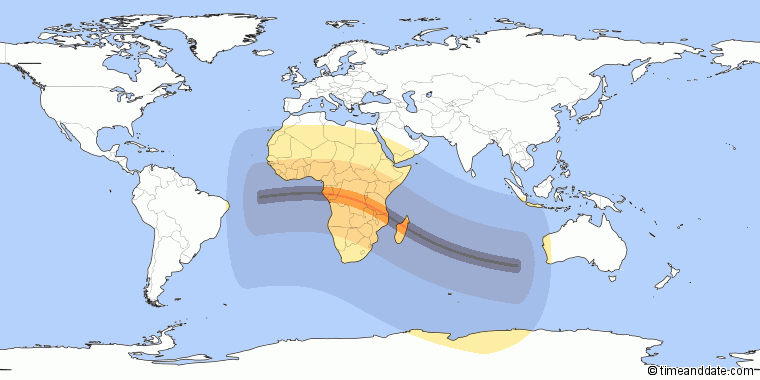 Day and Night Map shows where eclipse is currently visible.