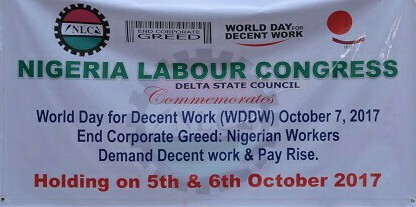 WORLD DAY FOR DECENT WORK: Delta NLC Seeks End To Corporate Greed, Pickets Coys In Asaba
