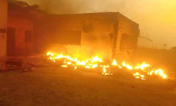 Drunken Security Man Burns INEC Office  *PVCs, Ballot Boxes, Voters Register, Generators Burnt
