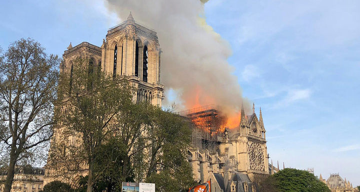 Fire At The Cathedral:  Paris Notre Dame Burns