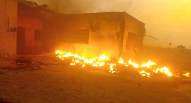 Drunken Security Man Burns INEC Office  *PVCs, Ballot Boxes, Voters Register, Generators Burnt